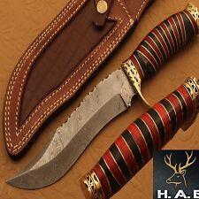 Damascus Steel Hunting Knife Handle Bull Horn Brass Red Sheet Bolster{QN-391}