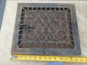 "RARE VTG METAL FLAP LOUVER STYLE FLOOR GRATE REGISTER HEAT VENT 14X12"" 10X12"""