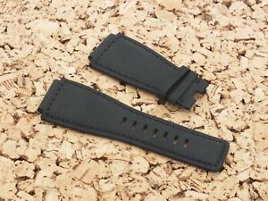 24mm Black Leather Buckskin Lined Watch Strap For BELL & ROSS BR-01-BR-03