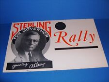 R.S. STERLING FOR GOVERNOR POLITICAL POSTER 1930's HOUSTON,TX - 31st GOVERNOR