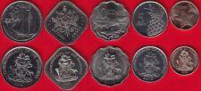 Bahamas set of 5 coins: 1 - 25 cents 2005-2015 UNC