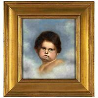19th c. Continental Old Master Style O/B Painting Child/Putti in Clouds