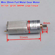 DC 5v 12v 58rpm 20mm Large Torque Micro Full Metal Gear Motor Slow Speed Robot