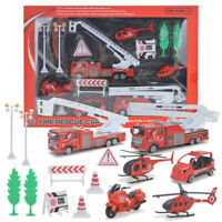 15pcs Fire Truck Car Helicopter Engineering Vehicle Kids Toy Christmas Gift