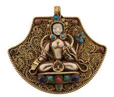 White Tara Ghau Pendentif tibetain bouddhiste Coquillage turquoise Gau 25490