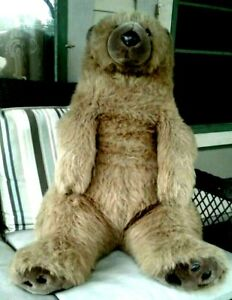 VINTAGE LARGE SITTING BROWN BEAR, 29 INCHES TALL,  LEATHER NOSE & BACK FEET PADS