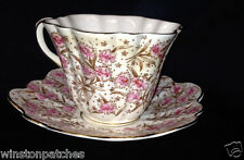ROSINA QUEENS ENGLAND CUP  SAUCER PINK FLOWERS GOLD TRIM SCALLOPED FLUTED CHINTZ