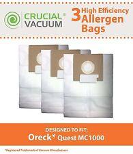 3 Replacements Oreck Quest MC1000 Vacuum Bags Part # PK12MC1000