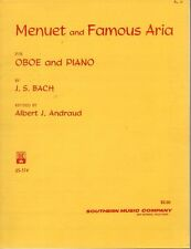 Menuet and Famous Aria Oboe and Piano JS Bach Music Folio Albert Andraud