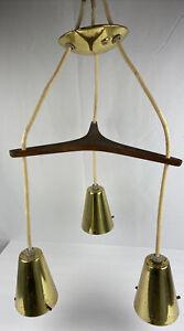 Vtg MCM Ceiling Light Danish Modern Conical UFO Triple Pendant Brass No Globes