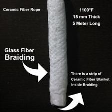 15mm x 5M Round Refractory Ceramic Fiber Rope Heat Resistant upto 1100F