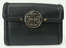 NWT Tory Burch Amanda Leather Cross Body Logo Handbag Black Wallet Chain $285
