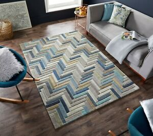 MODA RUSSO LUXURY 100% WOOL THICK HAND CARVED GEOMETRIC RUG HALLWAY IN MULTI