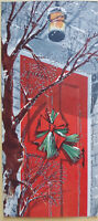 VINTAGE CHRISTMAS CARD RED FRONT DOOR WREATH TREE BRANCHES GLITTER LANTERN