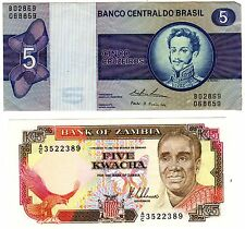Bank of Zambia Five Kwacha Plus Banco Centraldo Brasil Five Cruzeiros LOOK NICE!