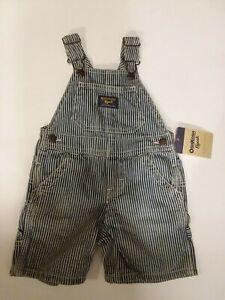 OshKosh B'gosh Size 12 Months Blue & White Striped Denim Short Vestbak Overalls
