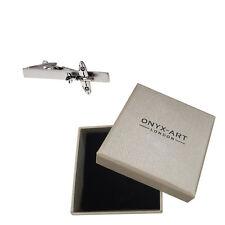Silver Spitfire Aeroplane Tie Bar & Gift Box - Ww2 Fighter Plane