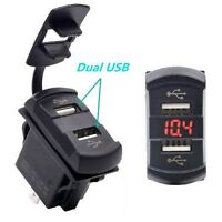 12V LED Dual 2 USB Port Boot Car Charger Auto KFZ Ladegerät Adapter Socket Outle