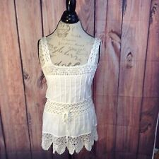 Rue 21 Womens Medium Ivory Sleeveless Crocheted Drawstring Boho Summer Top A92