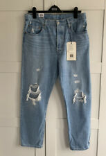 Levis 501 Crop Montgomery Patch Ripped Blue Jeans Bnwt Rrp £100 31/28