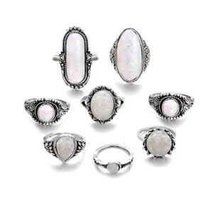 8Pcs OPAL Retro Ring Boho Hippie Silver Ring Gothic Rings Set Tribal Silver New