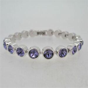 Touchstone Crystal by Swarovski Rhodium Plated Stainless Steel Dark Purple Ice B