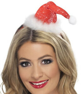 Damen Nikolausmütze Mütze Nikolaus Haarreif Marabufedern Haarreifen Weihnachten