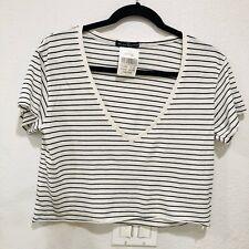 Brandy Melville Striped Ashley Crop Top V-neck Short Sleeve Shirt NWT OS XS/S
