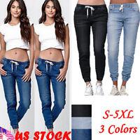 Women's Pants Elastic High Waist Skinny Trousers Side Pockets Sweatpants Jogger