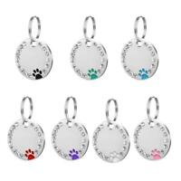 Dog Tags Paw Rhinestone Pet Cat ID Name Tag Bows Free Engraved New