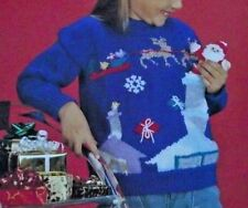 "CHILDREN CHRISTMAS JUMPER/SWEATER SANTA CHIMNEY POCKET KNITTING PATTERN 24""-32"""