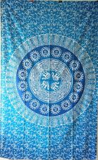 Bedcover Elephant Mandala Blue Twin Size Tapestry Textile Indian Cotton Blue Art