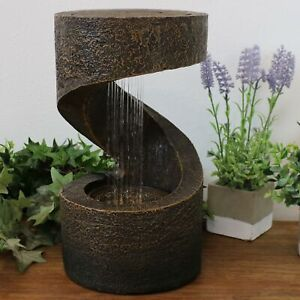 Sunnydaze Winding Showers Tabletop Water Fountain Feature with LED Light -