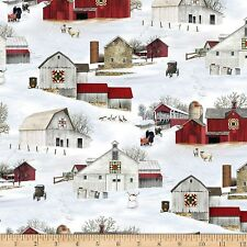 Christmas Fabric - Headin' Home Snow Covered Barns - Elizabeth's Studio YARD