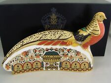 ROYAL CROWN DERBY GOLDEN PHESANT PAPERWEIGHT, GOLD STOPPER, BOXED