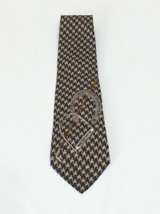 Polo by Ralph Lauren Navy Houndstooth Horseshoe Graphic Mens Silk Tie 57.5""