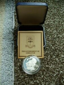 1980 U/K Silver Gibraltar 175th Anniv Death Of Nelson Proof Crown In Box + C.O.A