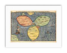 MAP ANTIQUE JERUSALEM BUNTING CLOVER LEAF WORLD Poster Canvas art Prints