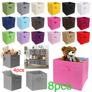 8X Foldable Canvas Storage Collapsible Folding Box Fabric Cube Cloth Basket Bag