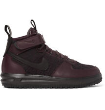 NIKE Lunar Force 1 Workboot Leather And Flyknit High-Top Sneakers BURGUNDY US 10