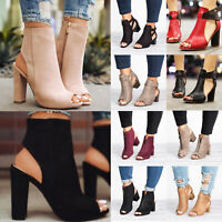 Women Chunky Block High Heel Ankle  Strap Zip Boot Sandals Peep Toe Casual Shoes