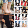 Women Block Mid Heels Sandals Peep Toe Chunky Buckle Ankle Strap Zip Boots Shoes