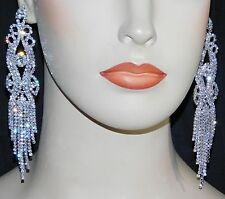 "SILVER CLEAR RHINESTONE CRYSTAL 5"" LONG CHANDELIER BRIDAL EARRINGS"