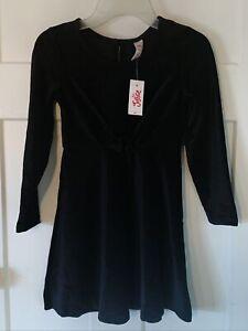Justice Girls Size 6 Tie Front Velvet Dress Black Nwts