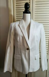 J.CREW Factory Cotton Blazer Sz 14 White b9333 $118