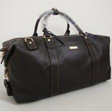 BROOKS BROTHERS Dark Brown Leather Wheeled Duffle Duffel Weekender Travel Bag