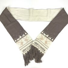 Abercrombie Scarf Tan, Ivory Tassel Edges Nylon, Rayon, Angora, Wool Blend