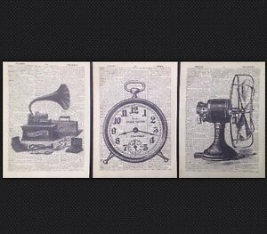3 X Vintage Industrial Prints Dictionary Page Wall Art Pictures Hipster Upcycled