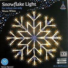 WARM WHITE SNOWFLAKE WINDOW LIGHT CHRISTMAS XMAS LED LIGHT New