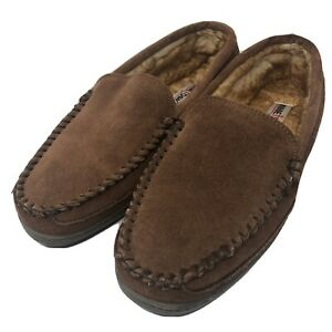 Minnetonka Men's 11 Brown Suede Leather Sherpa Lined Moccasin Slippers Shoes